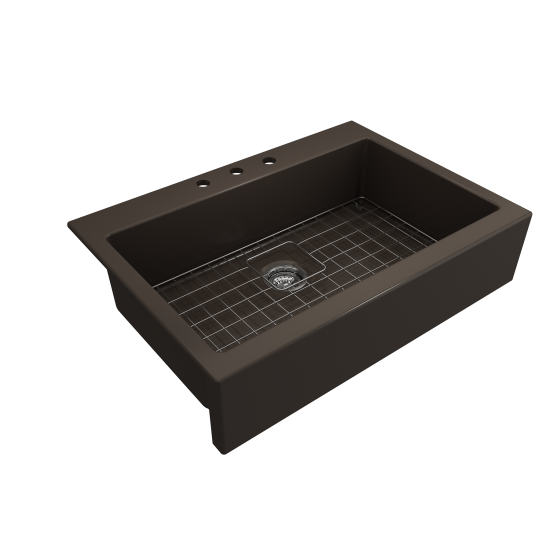 Nuova Apron Front Drop-In Fireclay 34 in. Single Bowl Kitchen Sink with Protective Bottom Grid and Strainer in Matte Brown