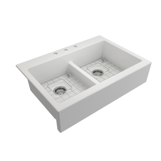 Front Drop-In Fireclay 34 in. 50/50 Double Bowl Kitchen Sink with Protective Bottom Grids and Strainers in Matte White