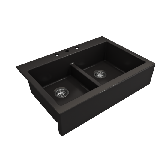 Front Drop-In Fireclay 34 in. 50/50 Double Bowl Kitchen Sink with Protective Bottom Grids and Strainers in Matte Black