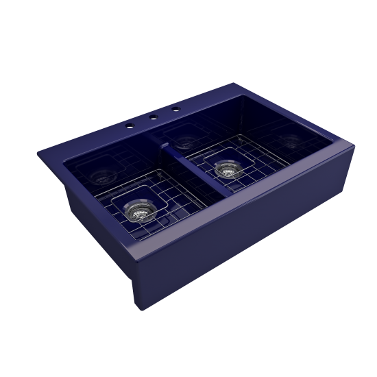 Front Drop-In Fireclay 34 in. 50/50 Double Bowl Kitchen Sink with Protective Bottom Grids and Strainers in Sapphire Blue