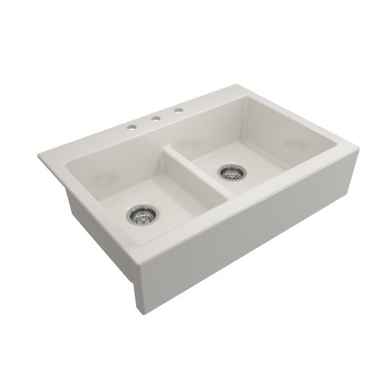 Nuova Apron Front Drop-In Fireclay 34 in. 50/50 Double Bowl Kitchen Sink with Protective Bottom Grids and Strainers in Biscui