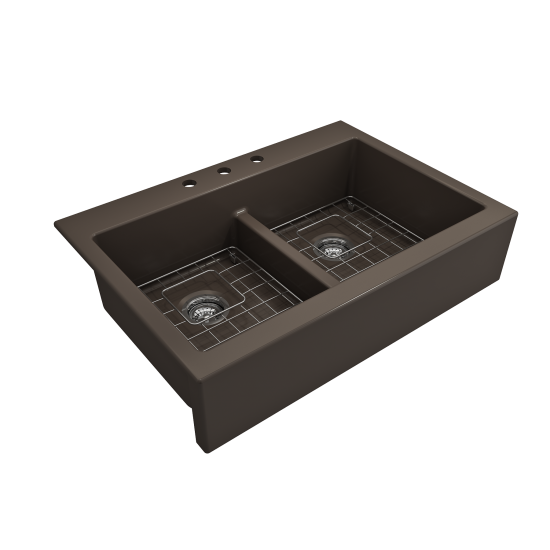 Front Drop-In Fireclay 34 in. 50/50 Double Bowl Kitchen Sink with Protective Bottom Grids and Strainers in Matte Brown