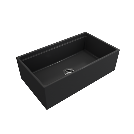 Apron Front Step Rim with Integrated Work Station Fireclay 33 in. Single Bowl Kitchen Sink with Accessories in Matte Dark Gra