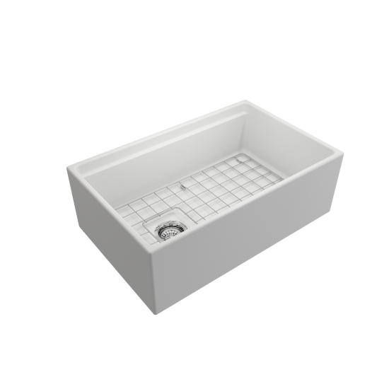 Apron Front Step Rim with Integrated Work Station Fireclay 30 in. Single Bowl Kitchen Sink with Accessories in Matte White