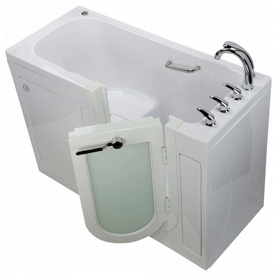 "MicrobubbleHeated Seat Walk-In Bathtub, 2"" Dual Drain, Left Swing Door"