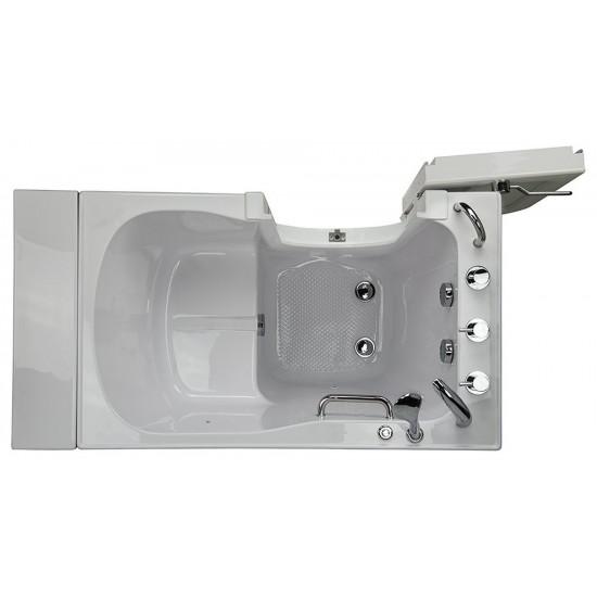 "MicrobubbleHeated Seat Walk-In Bathtub,Left Outward Swing Door, 2"" Dual Drain"