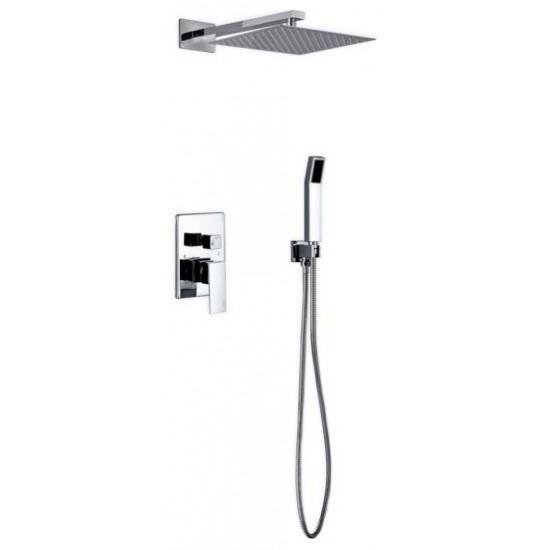 "Aqua Piazza Brass Shower Set With12"" Square Rain Shower and Handheld"