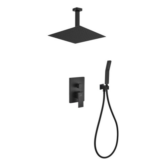 """Matte Black Shower Set With 12"""" Ceiling Mount Square Rain Shower and Handheld"""