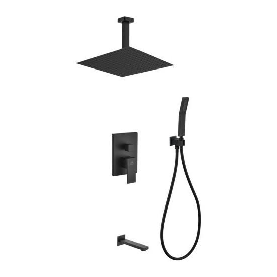 """Matte Black Shower Set 12"""" Ceiling Mount Square Rain Shower, Handheld,Tub Filler"""