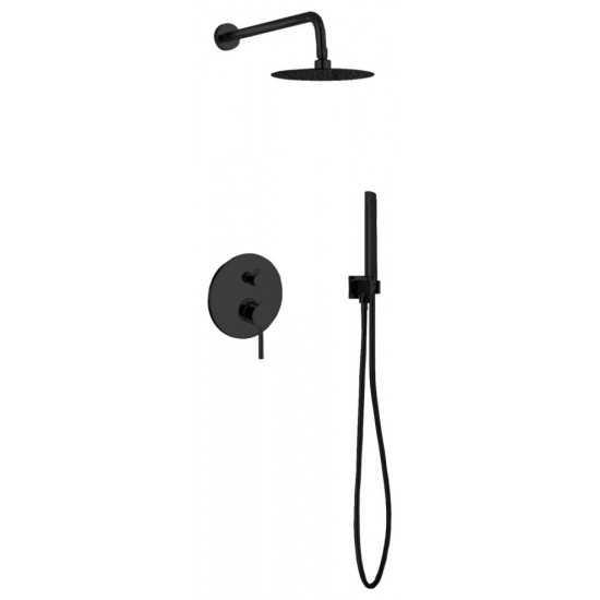 "Aqua Rondo Matte Black Shower Set With 8"" Rain Shower and Handheld"