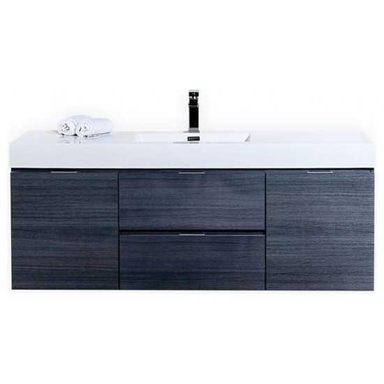 "Bliss 60"" Single Sink High Gloss Gray Oak Wall Mount Modern Bathroom Vanity"
