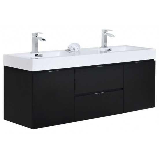 "Bliss 60"" Double  Sink Black Wall Mount Modern Bathroom Vanity"