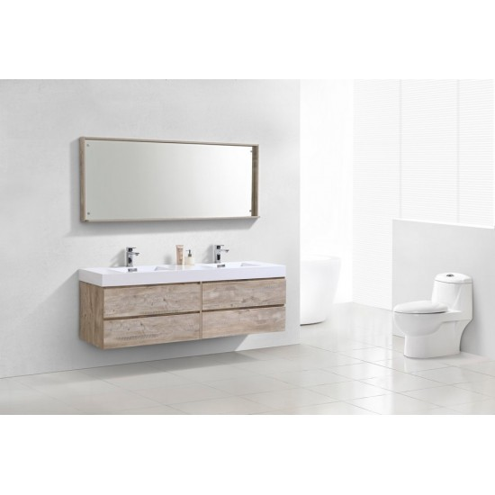 "Bliss 72"" Double  Sink Nature Wood Wall Mount Modern Bathroom Vanity"