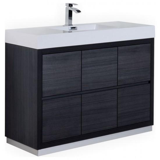"Bliss 48"" Gray Oak Free Standing Modern Bathroom Vanity"