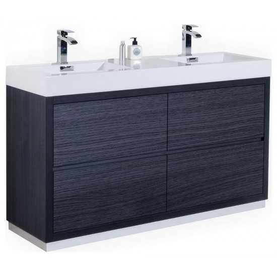 "Bliss 60"" Double Sink Gray Oak Free Standing Modern Bathroom Vanity"