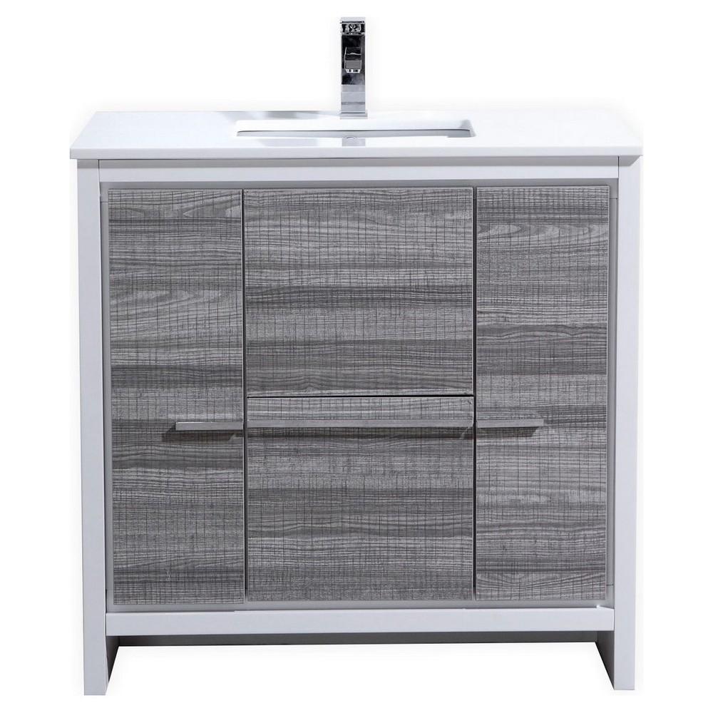 "KubeBath Dolce 36"" Ash Gray Modern Bathroom Vanity With White Quartz Counter-Top"