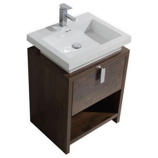 "Levi 24"" Modern Bathroom Vanity With Cubby Hole, Rose Wood"