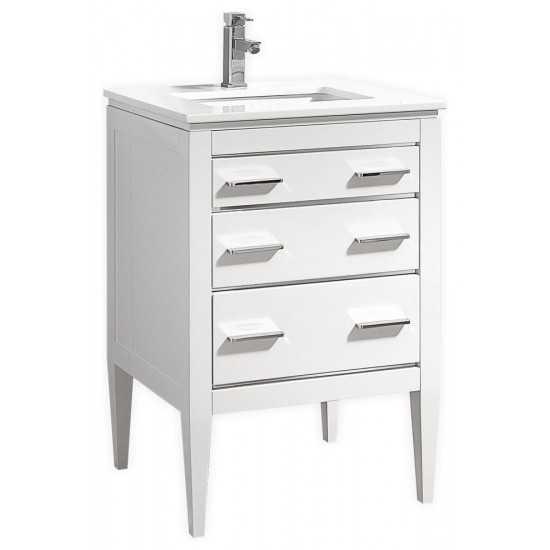 Eiffel 24'' High Gloss White Vanity With Quartz Counter Top
