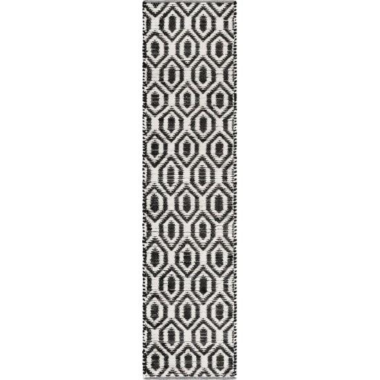 Rug Unique Loom Chindi Jute White/Black Runner 2' 7 x 10' 0