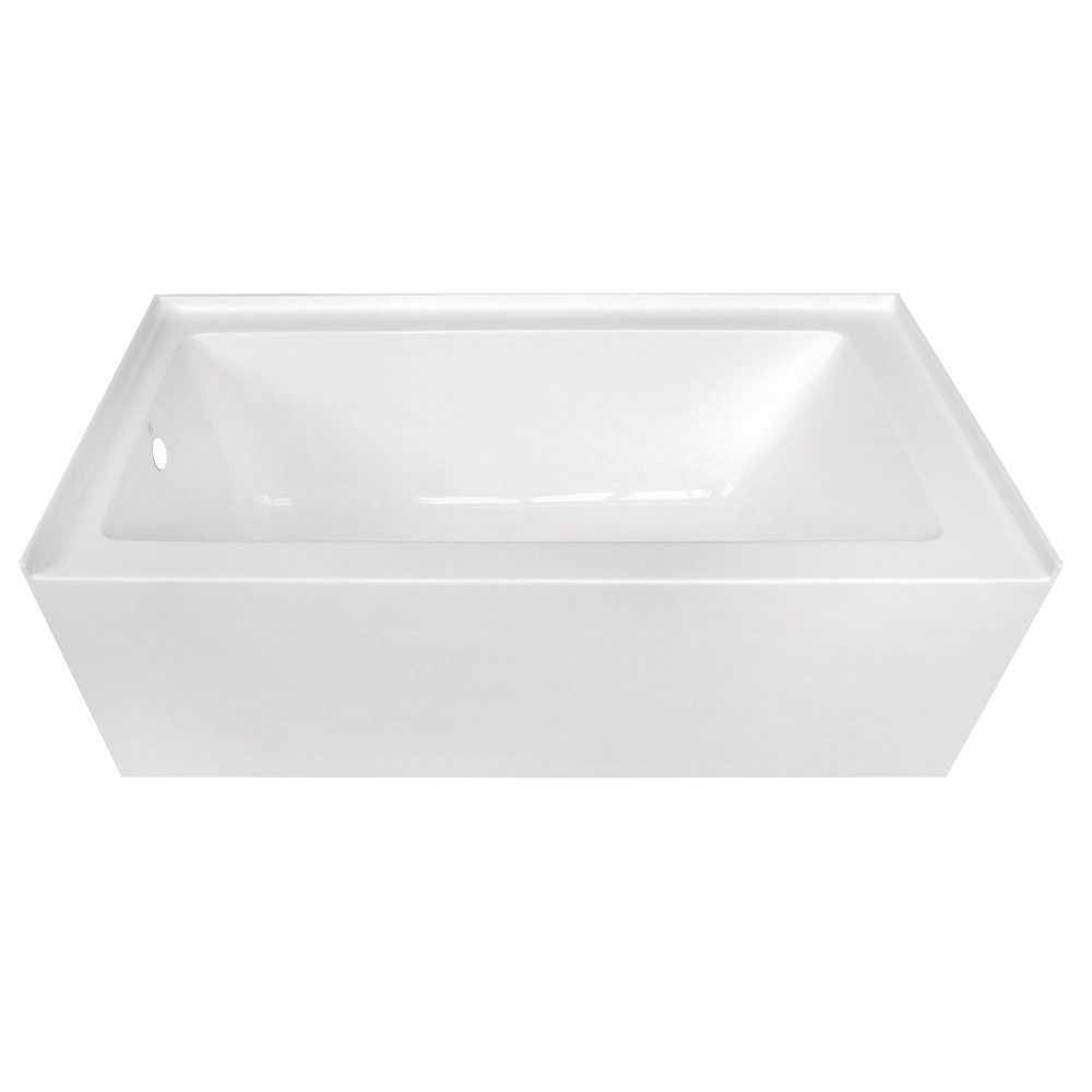 Aqua Eden  60-Inch Acrylic Alcove Tub with Left Hand Drain Hole, White