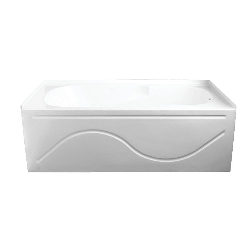 Aqua Eden  60-Inch Acrylic Anti-Skid Alcove Tub with Right Hand Drain Hole, White