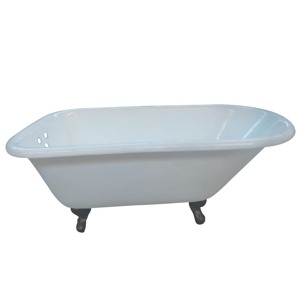 Aqua Eden  66-Inch Cast Iron Roll Top Clawfoot Tub with 3-3/8 Inch Wall Drillings, White/Oil Rubbed Bronze
