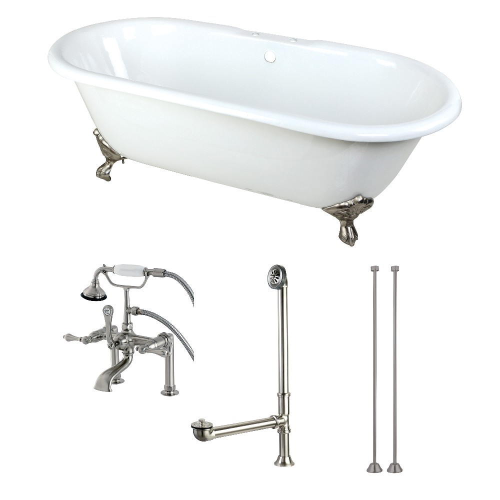 Aqua Eden  66-Inch Cast Iron Double Ended Clawfoot Tub Combo with Faucet and Supply Lines, White/Brushed Nickel