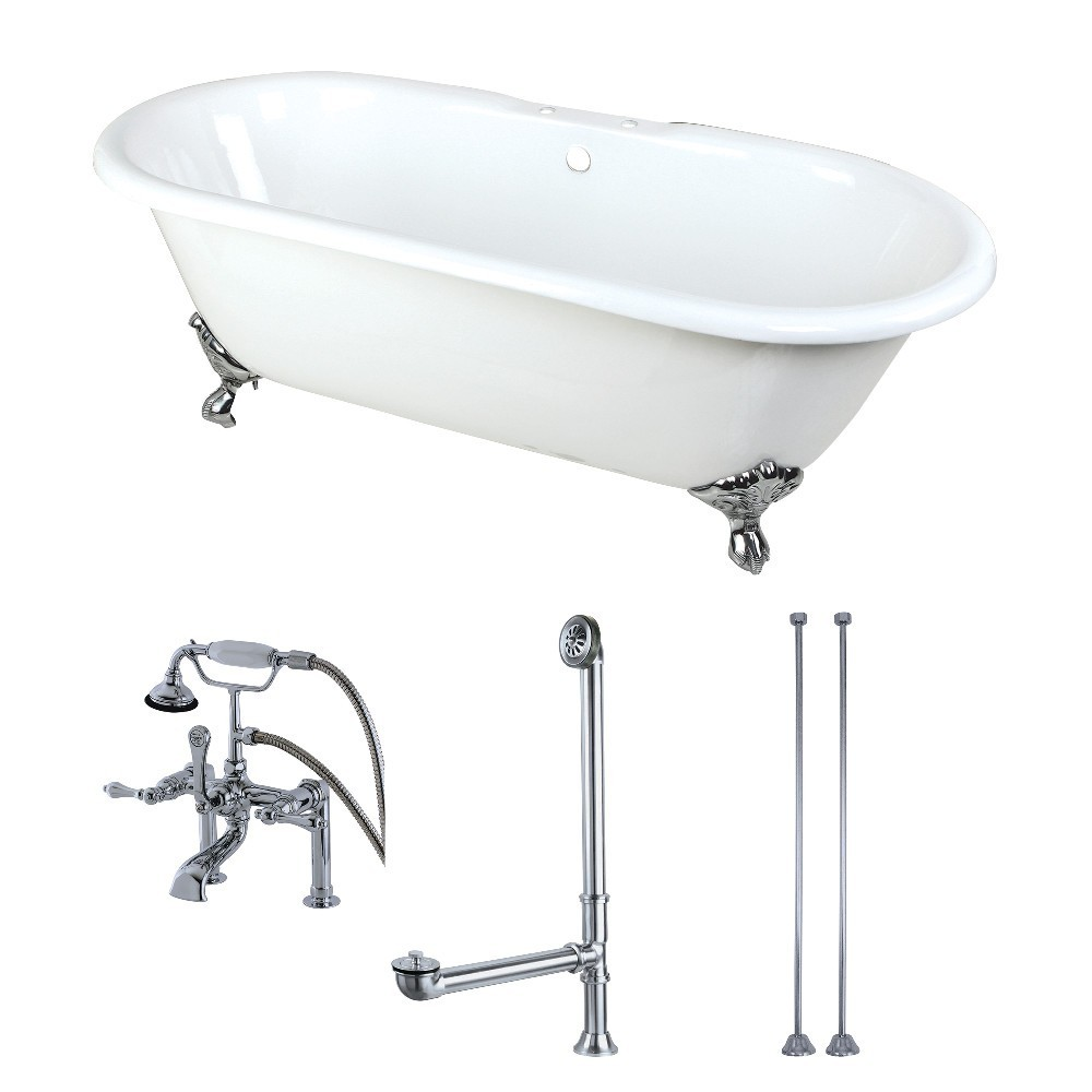 Aqua Eden  66-Inch Cast Iron Double Ended Clawfoot Tub Combo with Faucet and Supply Lines, White/Polished Chrome