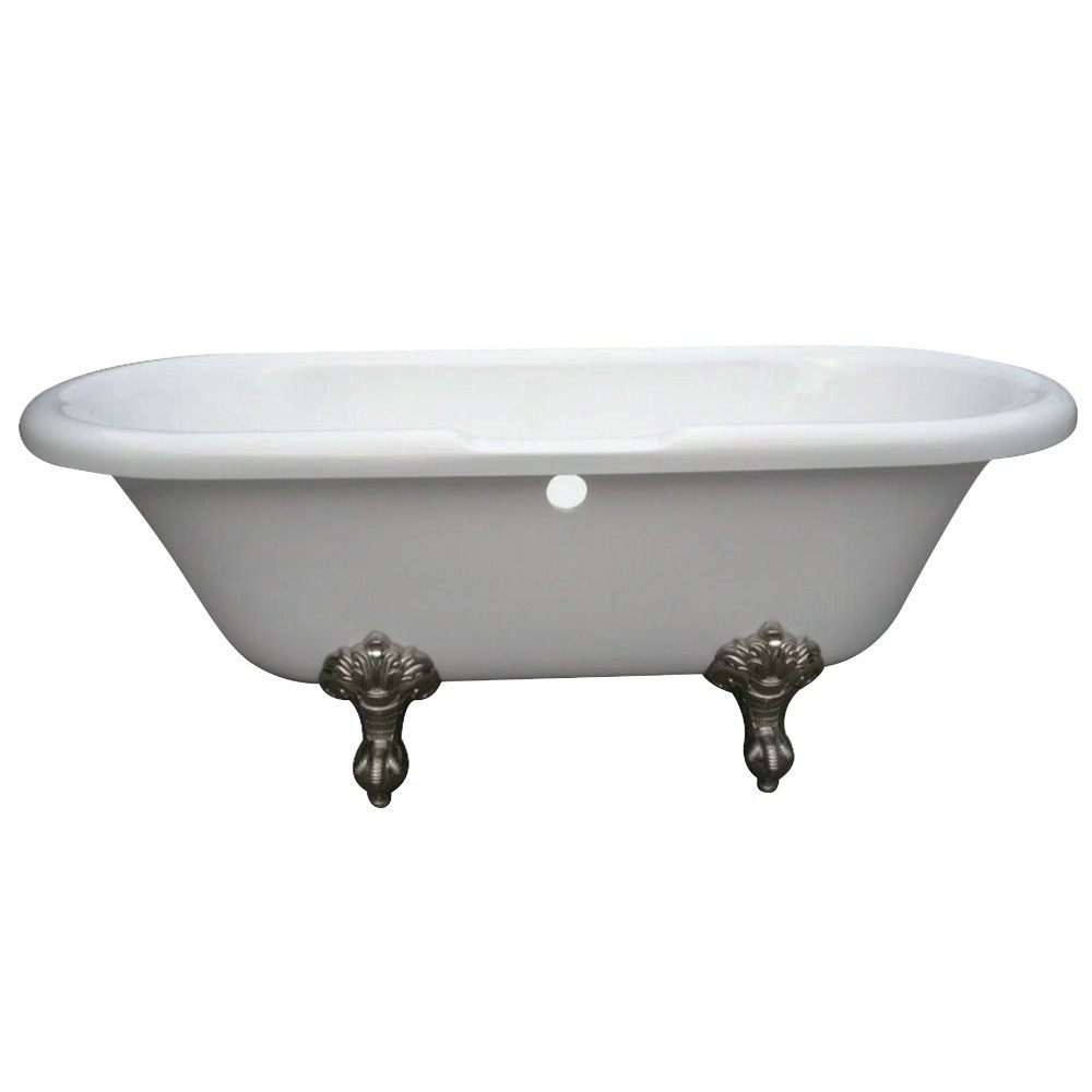 Aqua Eden  67-Inch Acrylic Double Ended Clawfoot Tub with 7-Inch Faucet Drillings, White/Brushed Nickel