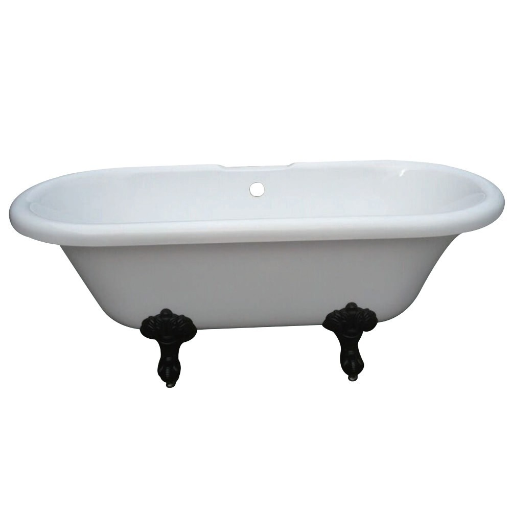 Aqua Eden  67-Inch Acrylic Double Ended Clawfoot Tub with 7-Inch Faucet Drillings, White/Oil Rubbed Bronze