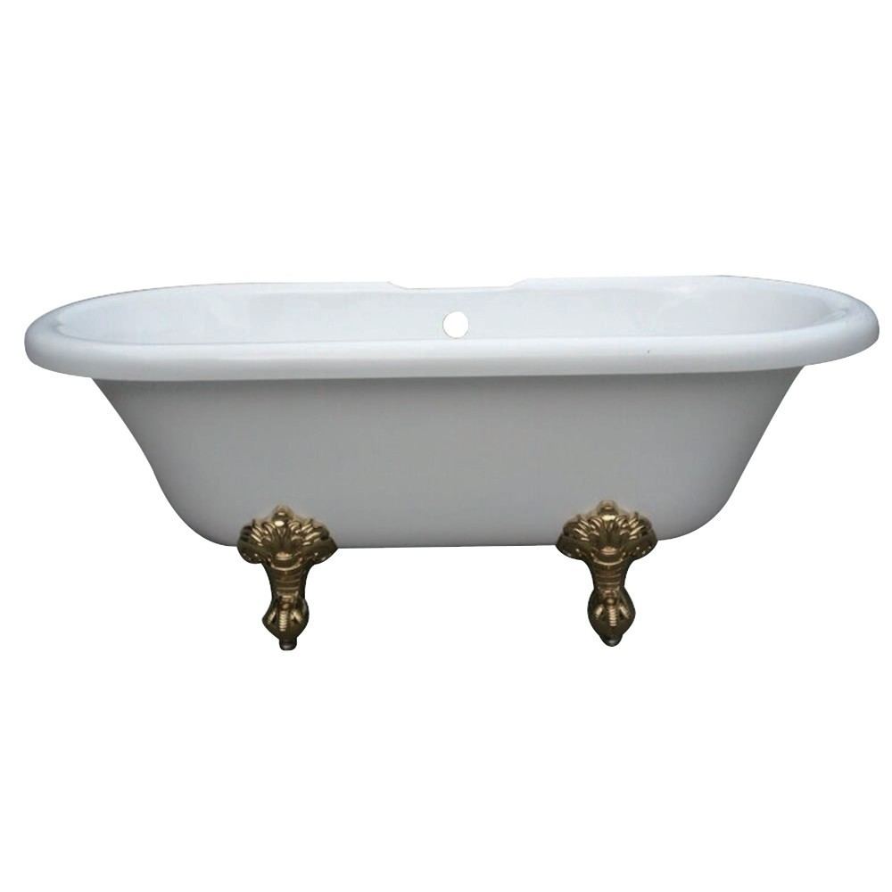 Aqua Eden  67-Inch Acrylic Double Ended Clawfoot Tub with 7-Inch Faucet Drillings, White/Polished Brass