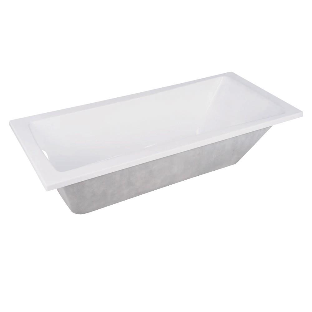 Aqua Eden  59-Inch Acrylic Rectangular Drop-In Tub with Reversible Drain Hole, White