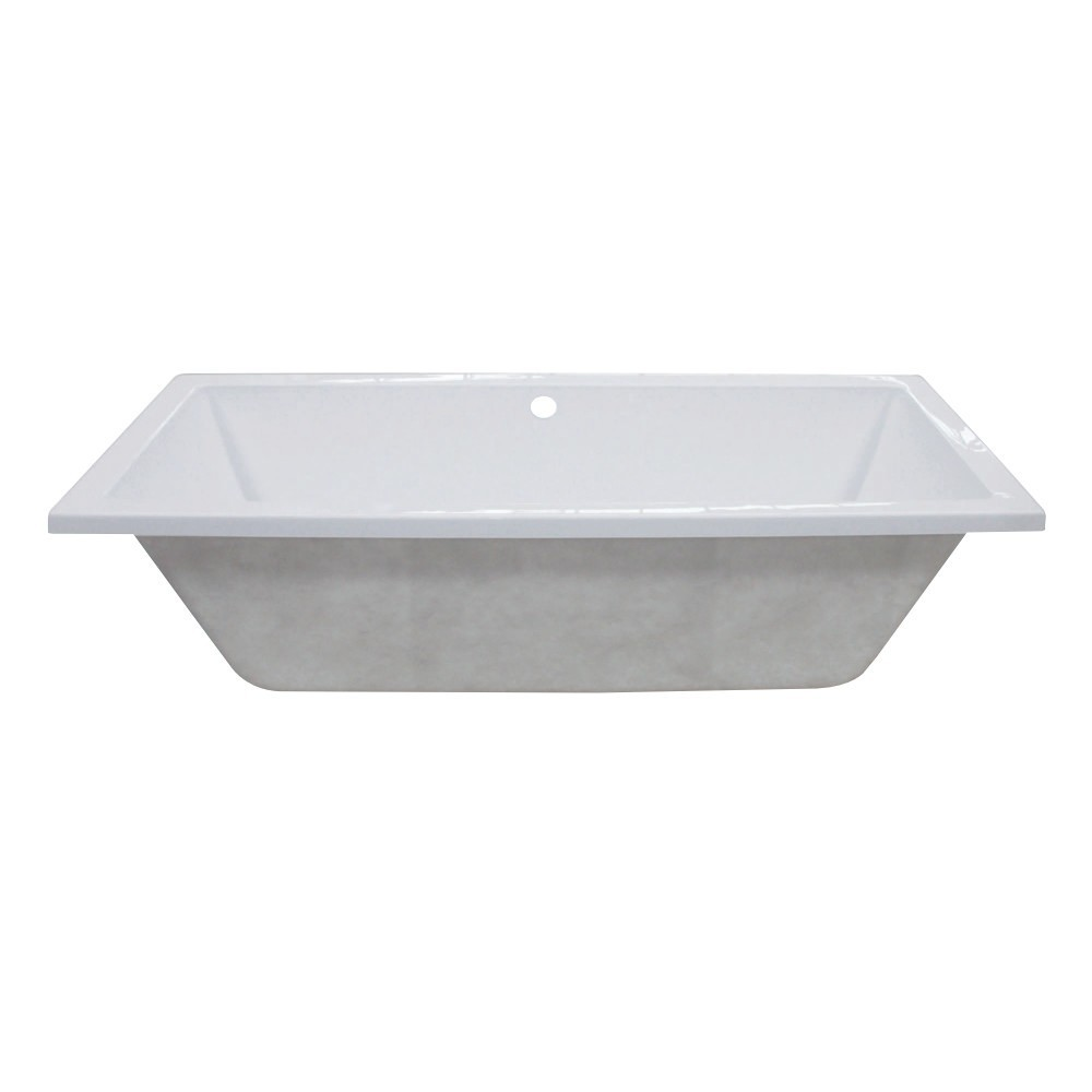 Aqua Eden  59-Inch Acrylic Rectangular Drop-In Tub with Center Drain Hole, White