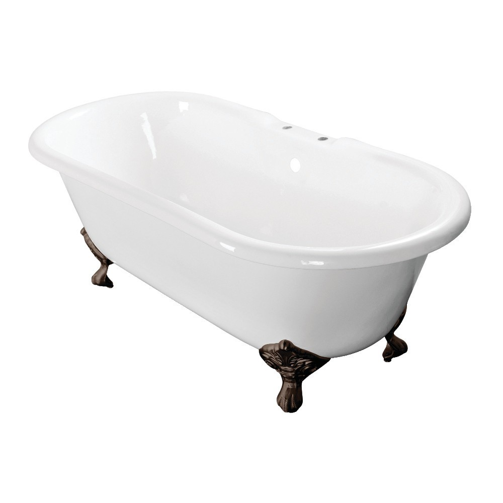 Aqua Eden  60-Inch Cast Iron Double Ended Clawfoot Tub with 7-Inch Faucet Drillings, White/Oil Rubbed Bronze