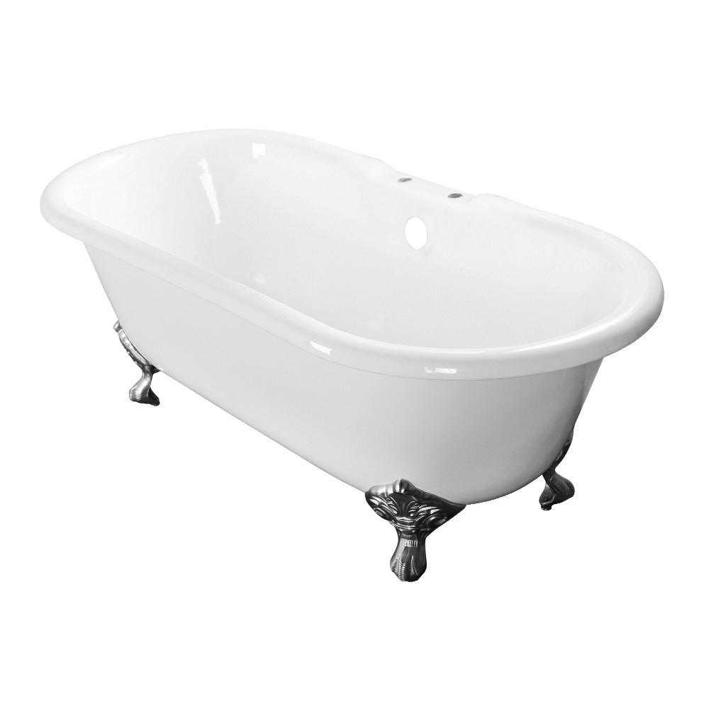 Aqua Eden  60-Inch Cast Iron Double Ended Clawfoot Tub with 7-Inch Faucet Drillings, White/Polished Chrome