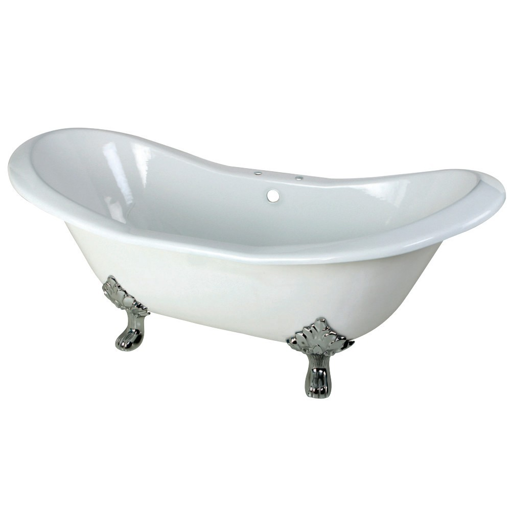 Aqua Eden  72-Inch Cast Iron Double Slipper Clawfoot Tub with 7-Inch Faucet Drillings, White/Polished Chrome