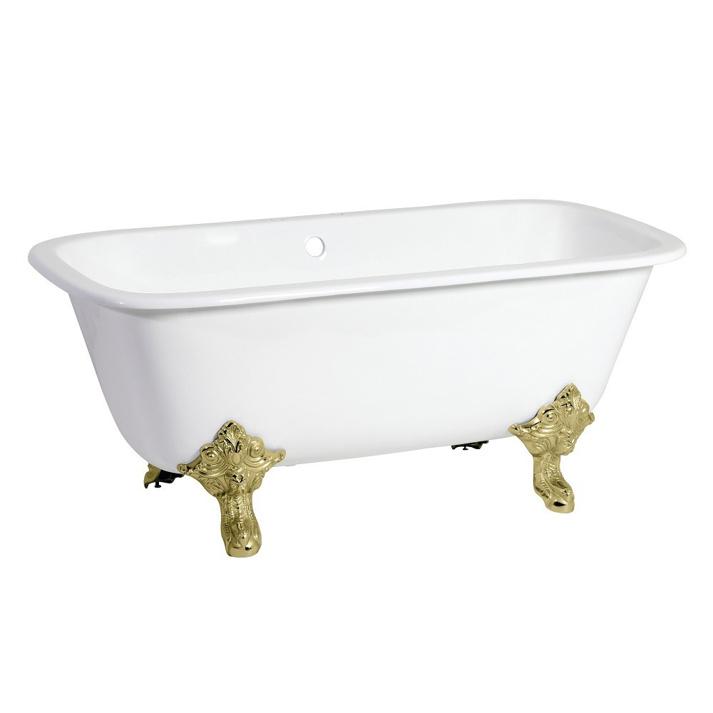 Aqua Eden  67-Inch Cast Iron Double Ended Clawfoot Tub with 7-Inch Faucet Drillings, White/Polished Brass