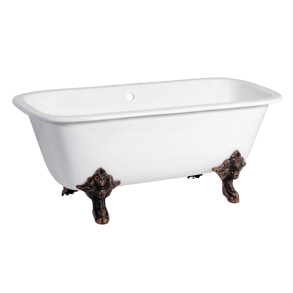 Aqua Eden  67-Inch Cast Iron Double Ended Clawfoot Tub with 7-Inch Faucet Drillings, White/Oil Rubbed Bronze