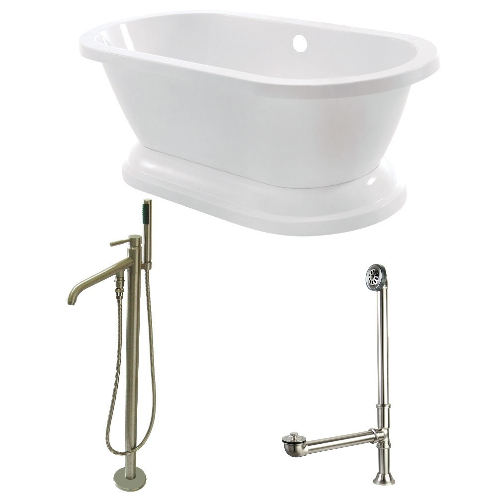 Aqua Eden  67-Inch Acrylic Double Ended Pedestal Tub Combo with Faucet and Supply Lines, White/Brushed Nickel