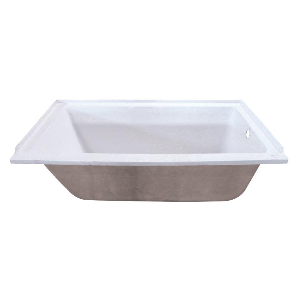 Aqua Eden  60-Inch Acrylic Rectangular Drop-In Tub with Right Hand Drain Hole, White