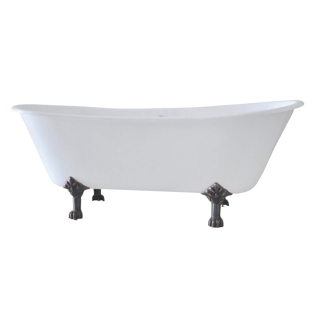 Aqua Eden  67-Inch Cast Iron Double Slipper Clawfoot Tub with 7-Inch Faucet Drillings, White/Oil Rubbed Bronze
