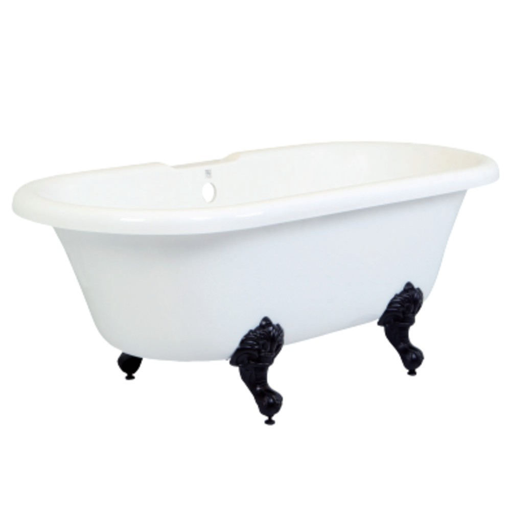 Aqua Eden  67-Inch Acrylic Double Ended Clawfoot Tub (No Faucet Drillings), White/Oil Rubbed Bronze