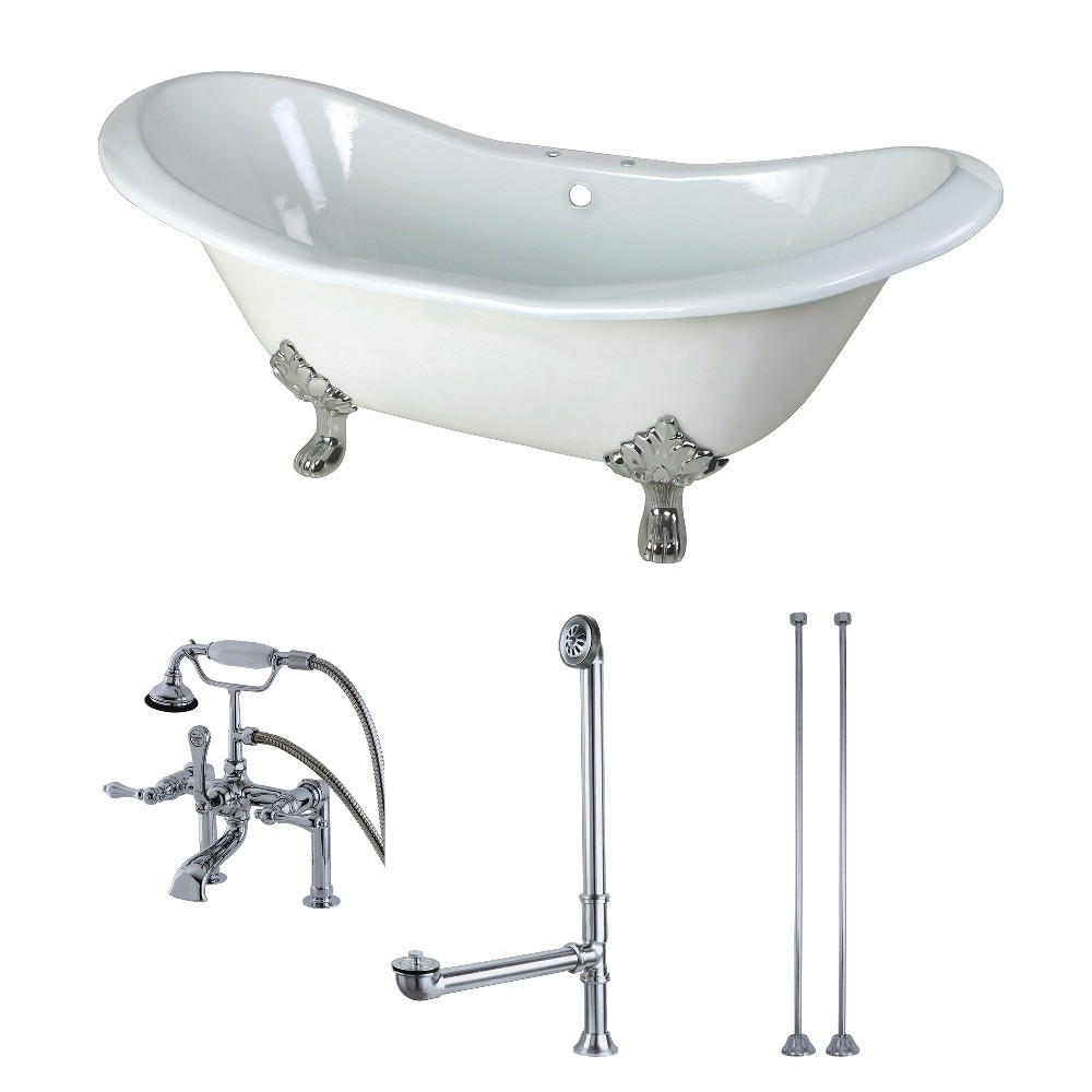 Aqua Eden  72-Inch Cast Iron Double Slipper Clawfoot Tub Combo with Faucet and Supply Lines, White/Polished Chrome