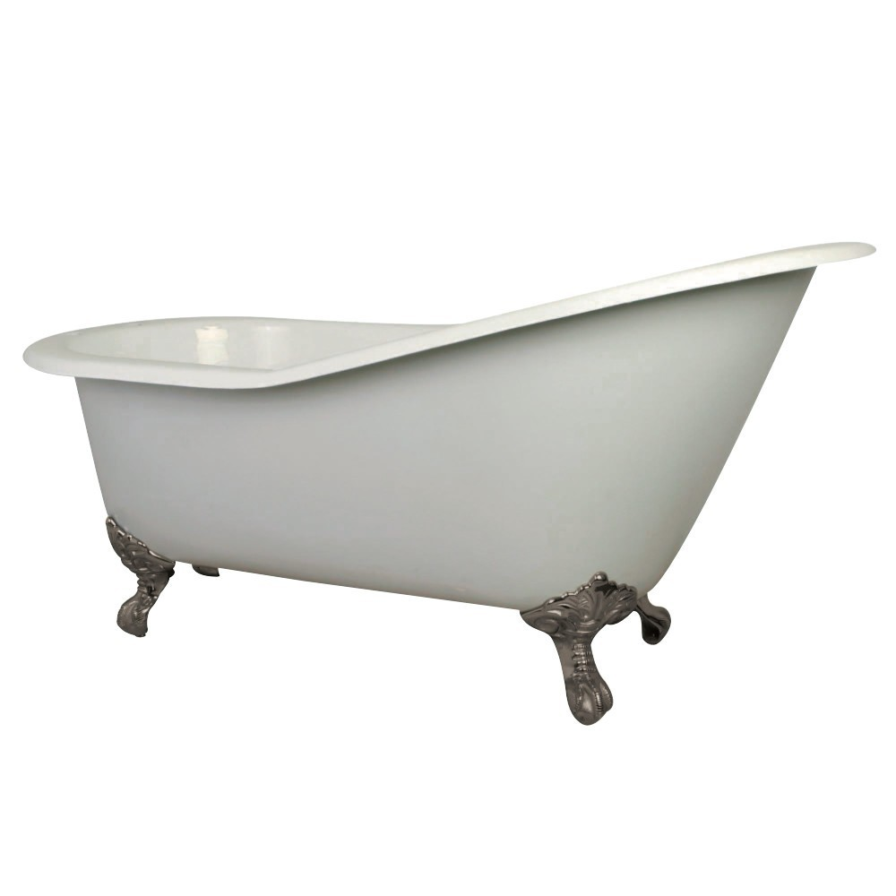Aqua Eden  61-Inch Cast Iron Single Slipper Clawfoot Tub with 7-Inch Faucet Drillings, White/Brushed Nickel
