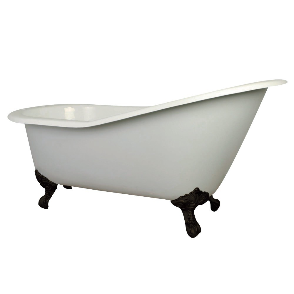 Aqua Eden  61-Inch Cast Iron Single Slipper Clawfoot Tub with 7-Inch Faucet Drillings, White/Oil Rubbed Bronze