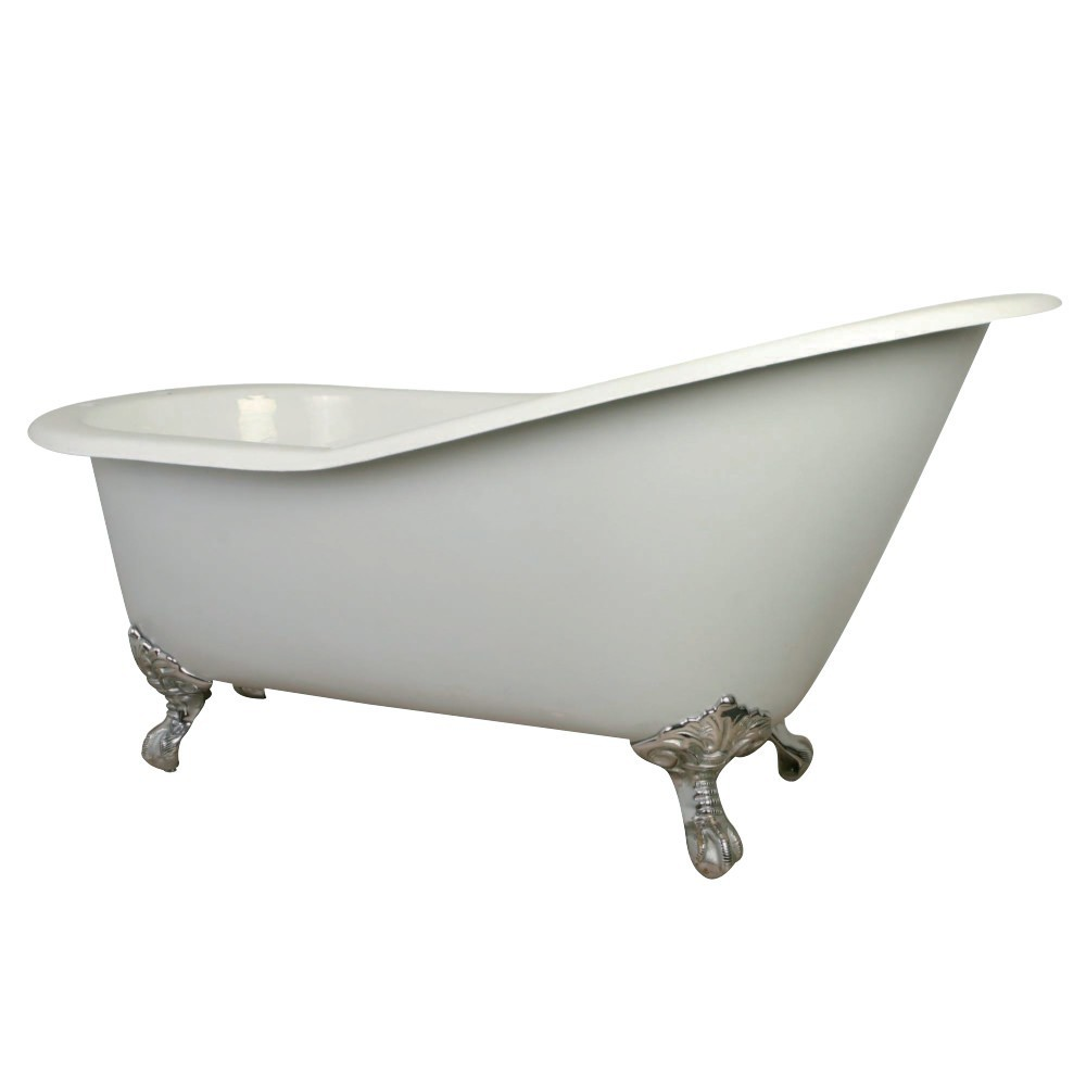 Aqua Eden  61-Inch Cast Iron Single Slipper Clawfoot Tub with 7-Inch Faucet Drillings, White/Polished Chrome