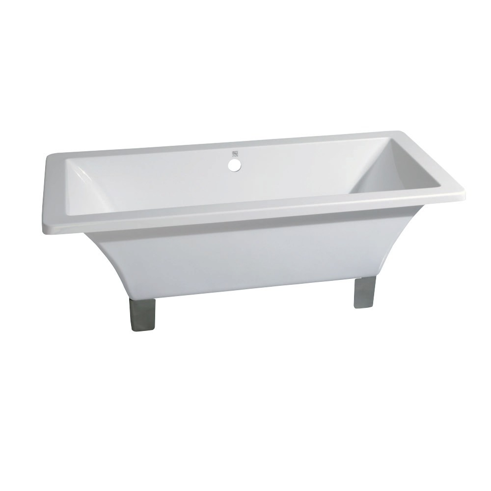 Aqua Eden  71-Inch Acrylic Double Ended Clawfoot Tub (No Faucet Drillings), White/Brushed Nickel
