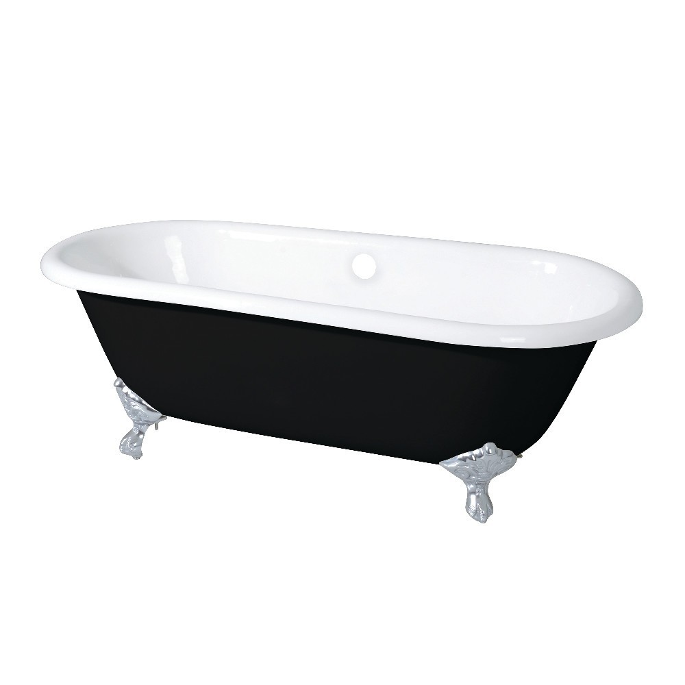 Aqua Eden  66-Inch Cast Iron Double Ended Clawfoot Tub (No Faucet Drillings), Black/White/Polished Chrome