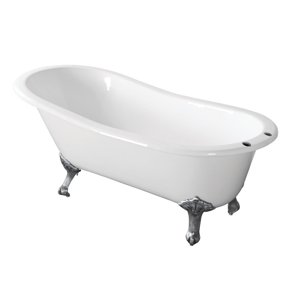 Aqua Eden  67-Inch Cast Iron Single Slipper Clawfoot Tub with 7-Inch Faucet Drillings, White/Polished Chrome