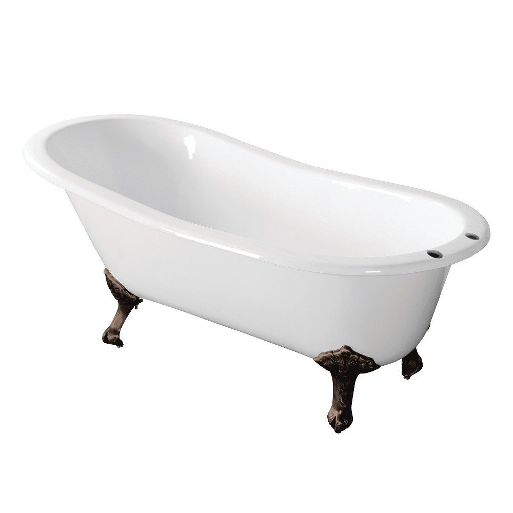 Aqua Eden  67-Inch Cast Iron Single Slipper Clawfoot Tub with 7-Inch Faucet Drillings, White/Oil Rubbed Bronze